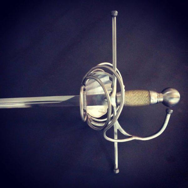 Pappenheimer swepthilt sword rapier from Bellatore. Hilt detail from back
